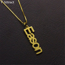 Name Necklace Gothic Chain Jewelry Pendant-Choker Gift Vertical Stainless-Steel Personalized