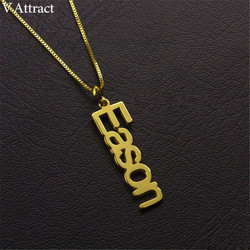 Gold Box Chain Custom Nameplate Pendant Choker Personalized Vertical Name Necklace Women Men Gothic Jewelry Stainless Steel Gift