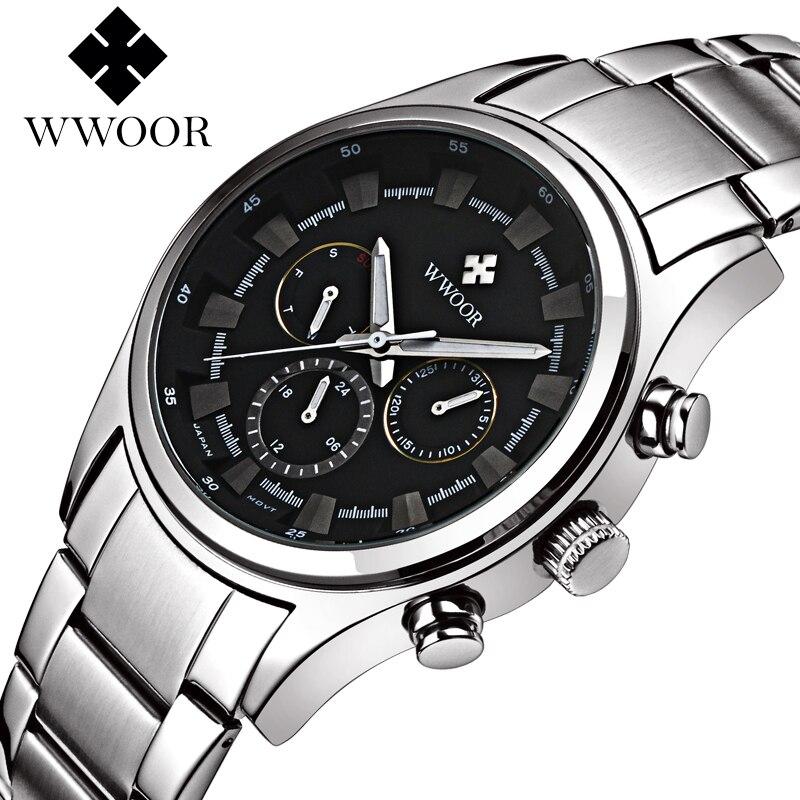 Top Brand Luxury Men Watches Stainless Steel Date Day Quartz Analog Chronograph 6 Hands Clock Man