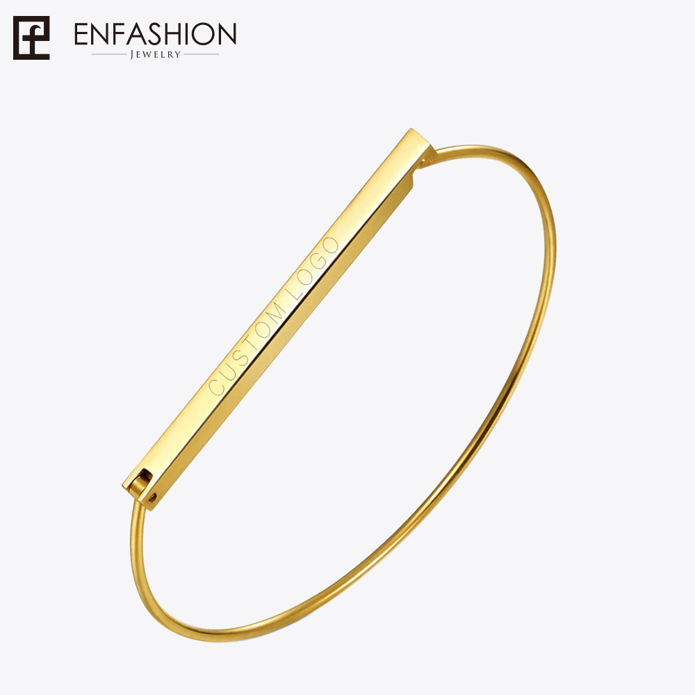 Enfashion Personalized Custom Engrave Name Flat Bar Cuff Bracelet Gold color Bangle Bracelet For Women Bracelets Bangles потолочная люстра freya fr5102 cl 04 ch