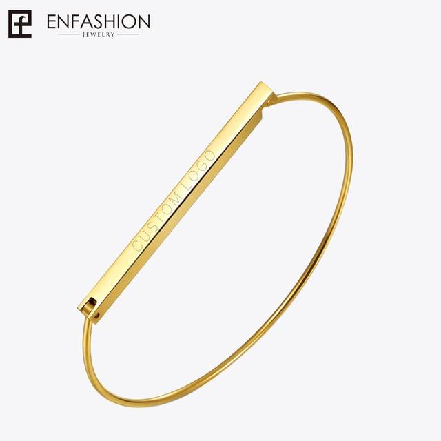 Enfashion Personalized Custom Engrave Name Flat Bar Cuff Bracelet Gold color Ban