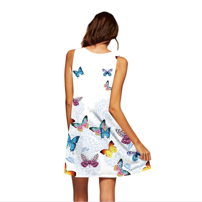 Women Print Dress 2020 New Arrival Floral Flamingo Sleeveless Summer Dress O Neck Casual Loose Mini Chiffon Dresses Vestidos 1