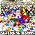 Nail Art Cystals Mix Tamanhos E Cores de Vidro Não Hot Fix Apartamento de Volta strass SS3 SS4 SS5 SS6 SS8 SS10 SS12 SS16 SS20 SS30 Glitters