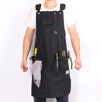 WEEYI Heavy Duty Black Waxed Canvas Workshop Apron Men With Pockets Cross Back Strap For Woodworker