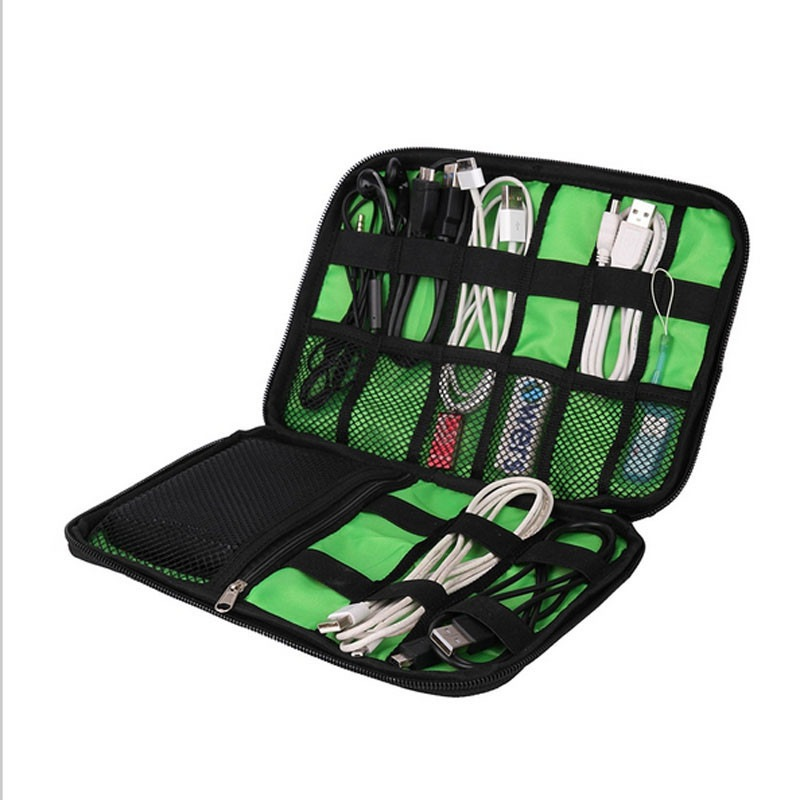 Organizer System Kit Case Förvaringsväska Digital Gadget Devices USB-kabel hörlurar Pen Travel Insert Portable
