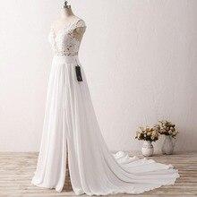 Cheap Simple Beach Wedding Dresses 2017 Vestido De Noiva Chiffon Lace Appliqued Sexy Women Bridal Dress with Cap Short Sleeve