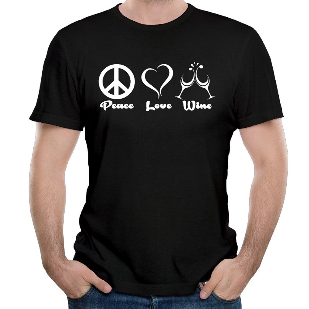 Fashion 2017 New Style font b Men s b font Peace Love Wine Funny Cotton Short