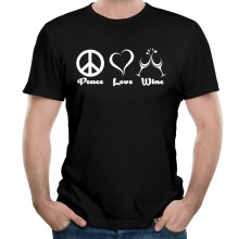 Fashion 2017 New Style Men's Peace Love Wine Funny Cotton Short Sleeve Tee Shirts high quality hip hop tees