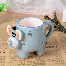 3D stereo creative hand painted cartoon animal mug office large ceramic cup drinkware Christmas gift