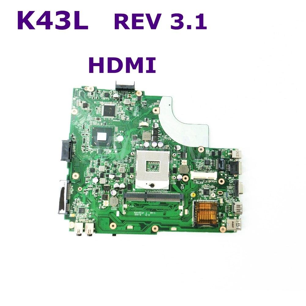 K43L pour Asus ordinateur portable carte mère X44H X84H K84L REV 3.1 DDR3 HM65 HDMI Interface PGA989 entièrement testé fonctionne bien livraison gratuite