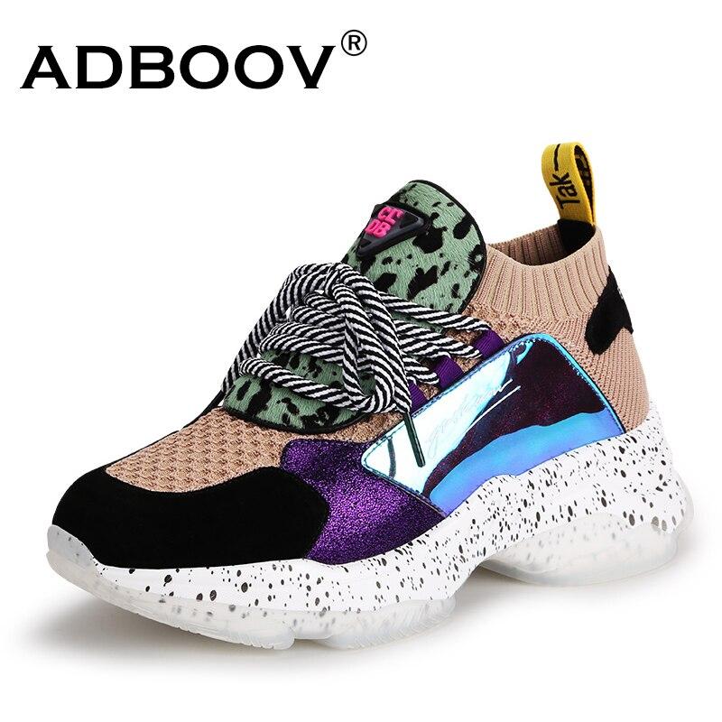 ADBOOV 2019 nouveau printemps baskets femmes en cuir véritable chaussures Femme décontractées Patchwork croisé dames chaussures Basket Femme