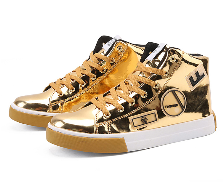 2018 Men leather casual shoes hip hop Gold fashion sneakers silver microfiber high tops Male Vulcanized shoes sizes 46 10