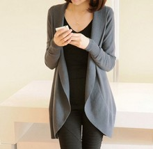 Long Sleeve Knitted Solid Scarf Collar Cardigans