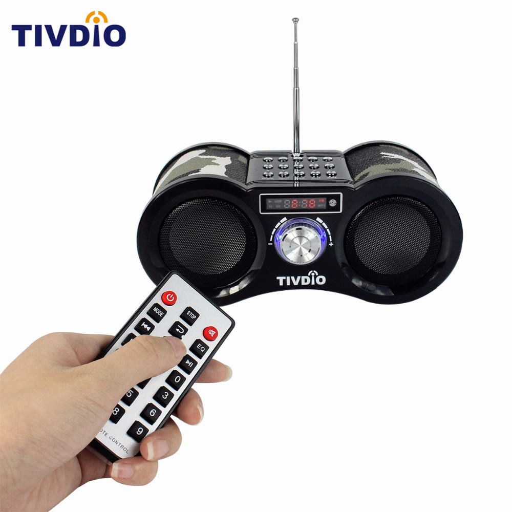 TIVDIO V-113 Camouflage Digital Stereo FM Radio USB/TF Card Speaker MP3 Music Player With Remote Control Receiver Radio F9203M tivdio v 116 portable radio fm mw sw world receiver usb sd card with mp3 player sleep timer alarm clock e book calendar