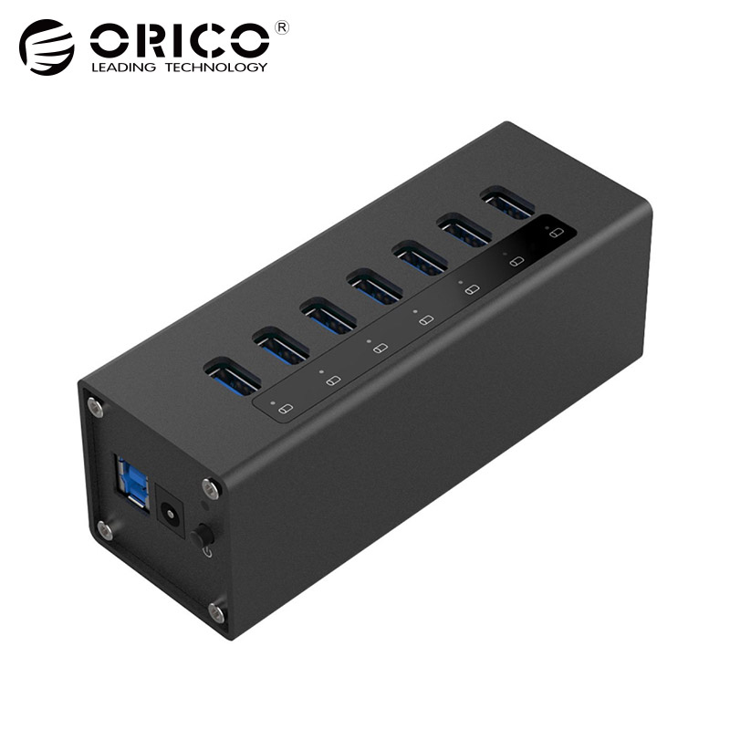 ORICO A3H7-BK 7 Port High Speed Desktop USB3.0 Hub with Power Adapter Aluminum HUB For Macbook-Black корпус fractal design focus g white fd ca focus wt w