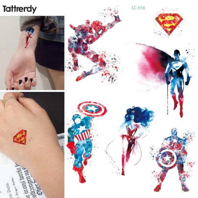 1 fiche new Avengers Coloré Captain America Spiderman Wonder Woman  Temporaire Flash Tatouage bras taty Corps