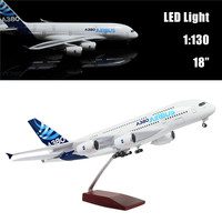 46CM 1:160 Airplane Model Airbus A380 with LED Light(Touch or Sound Control) Plane for Decoration or Gift