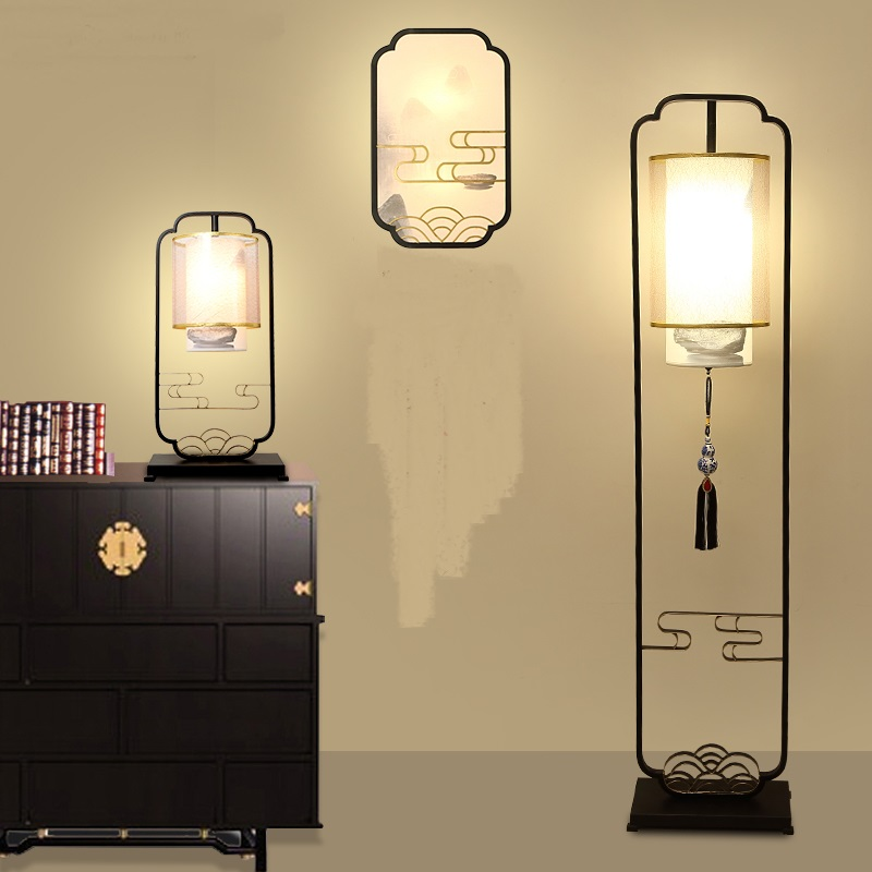 bedroom lamp bedside Table Lamps floor lamp room retro creative personality of modern Chinese study decorative lamp LU71593 french garden vertical floor lamp modern ceramic crystal lamp hotel room bedroom floor lamps dining lamp simple bedside lights