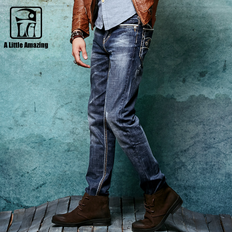2017 Autum 100% Cotton Mens Denim Jeans Darkded Vintage Washed 3D Crinkle Resin Washing Casual Pencil Pants 146043-6