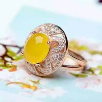 Natural yellow chalcedony gem Ring Natural gemstone ring 925 sterling silver trendy Elegant round women girl party fine Jewelry