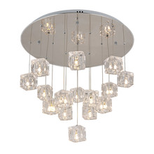 Post modern crystal  pendant lights clear square ice cube luxury decoration LED droplights foyer hotel lighting fixture