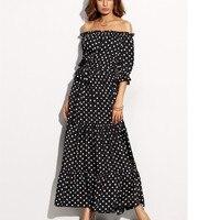 2017 lato sexy dot wydrukowano dress panie elegancka szyfonowa sukienki plażowe kobiety off shoulder slash neck sukienki plus size vestidos