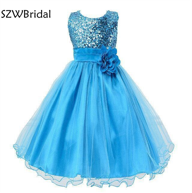 Fashion Sequined Lace Rustic Puffy Tulle Ball Gown Flower Girl Dresses For Weddings Evening Party 2020 Flower Gril Dresses