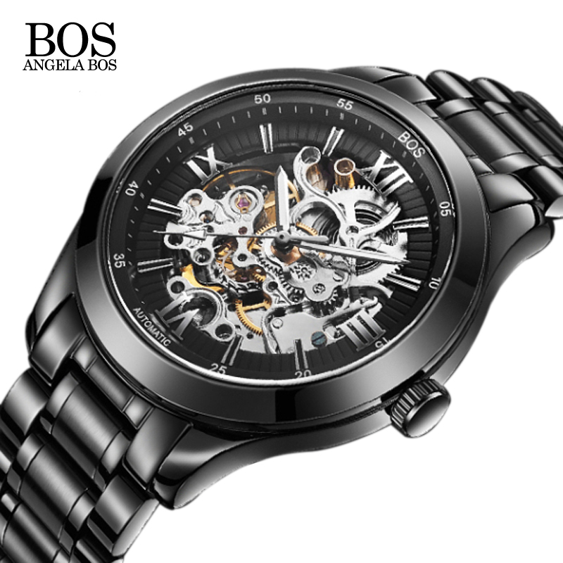 Bos Skeleton Automatic font b Watch b font Mechanical Black Stainless Steel Waterproof Luxury font b