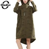 Oladivi Oversized Plus Size Women Hooded Dresses Fashion Print Lady Hoodies Dress Female Casual Long Tops