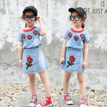 Fashion Trends Girls Set Summer 2017 Casual Stylish Kids Girl Clothing Suits Children's Roses Cowboy Short-sleeved Two-piece