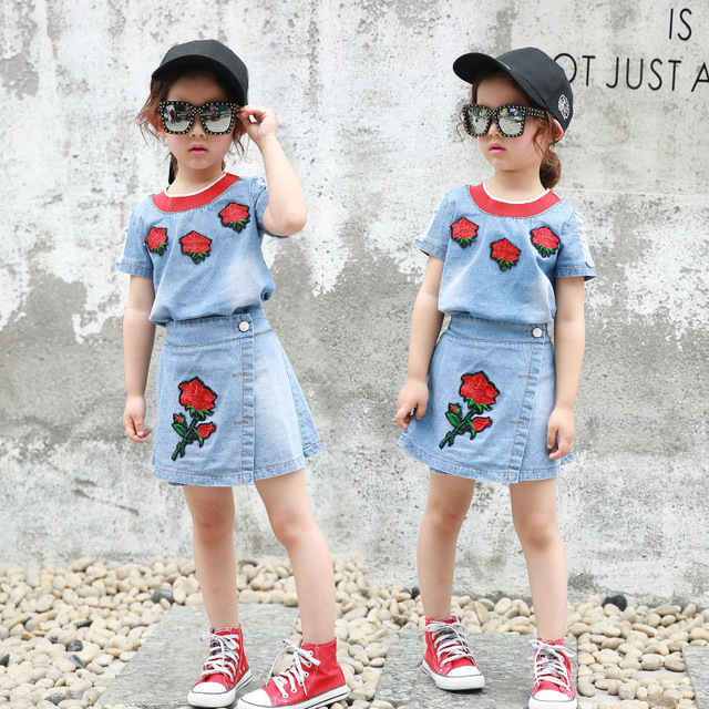 Fashion Trends Girls Set Summer 2017 Casual Stylish Kids Girl Clothing Suits Childrens Roses Cowboy Short
