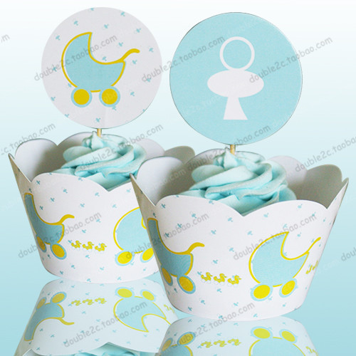 Baby Carriage Cupcake Wrappers Baby Shower Boy Decoration Birthday Party  Favors For Kids, PRAM Cup