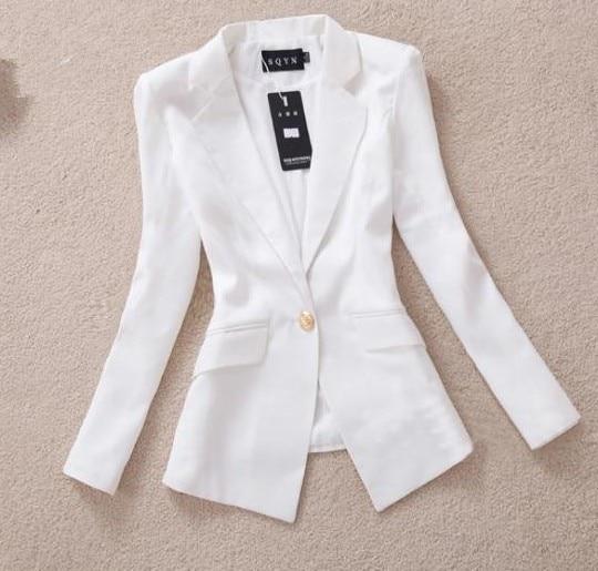 2569aede € 13.57 |2015 primavera nuevas mujeres Blazers Soild Color de manga larga  blanco y negro de la chaqueta abrigos mujeres Outwear traje en chaqueta de  ...