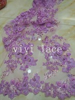 5yards HT614 light purple stone sequin embroidery french tulle mesh french lace for wedding dress/evening dress,ship by dhl