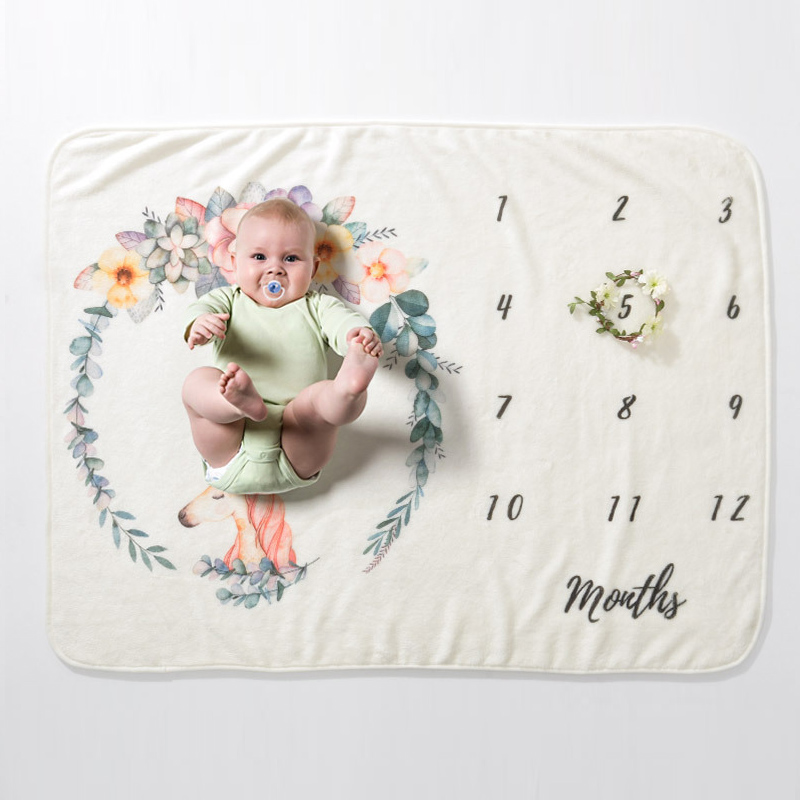 Infant Baby Milestone Blanket Photo Photography Prop Blankets Backdrop Cloth Calendar Boy Girl Photo Accessories 70*102CM 3