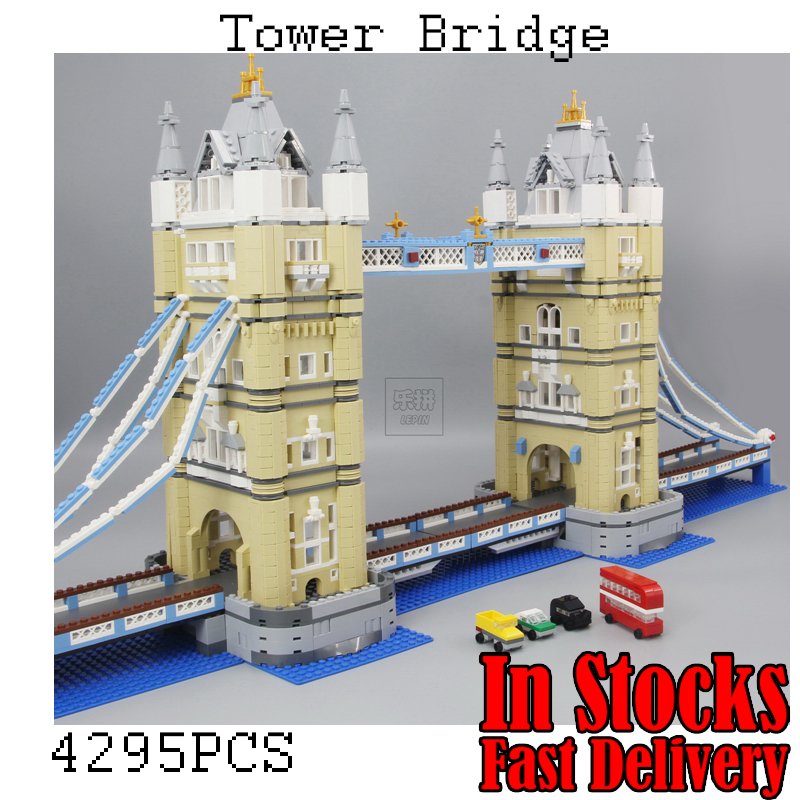 LEPIN London Tower Bridge 17004 4295Pcs Creator Expert Model Building Kits Blocks Bricks Compatible Toys for children Gift 10214 lepin 17002 3478pcs paris eiffel tower model kits building blocks bricks toys compatible 10181 for children gift
