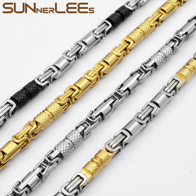 SUNNERLEES 316L Stainless Steel Necklace 6mm Geometric Byzantine Link Chain Silver Gold Black Men Women Jewelry Gift SC42 N