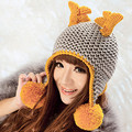 Lovely Antlers Beanie Women Winter 100% Handmade Knitted Deer Horn Hat