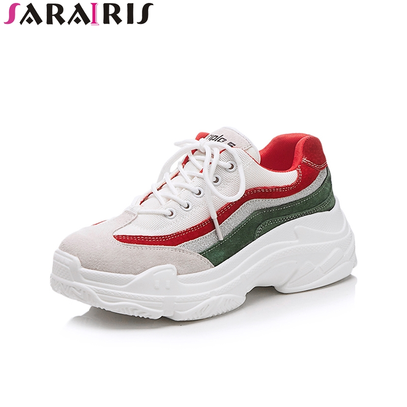 SARAIRIS 2018 Fashion Cow Suede Round Toe New Sneaker Spring Summer Women Shoes Lace Up Travel Shoes Woman Size 35-39