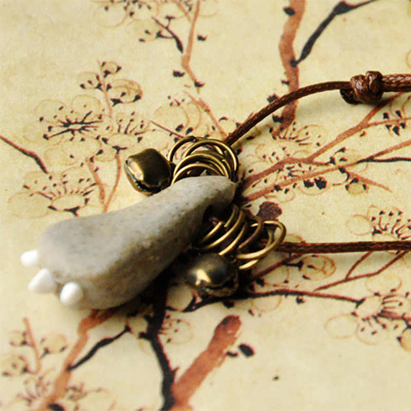 Chân mèo Mặt Dây Chuyền Gốm Chân Quyến Rũ Tuyên Bố Choker Weave Rope Chain Bronze Chuông Trang Sức Phụ Kiện Có Thể Điều Chỉnh