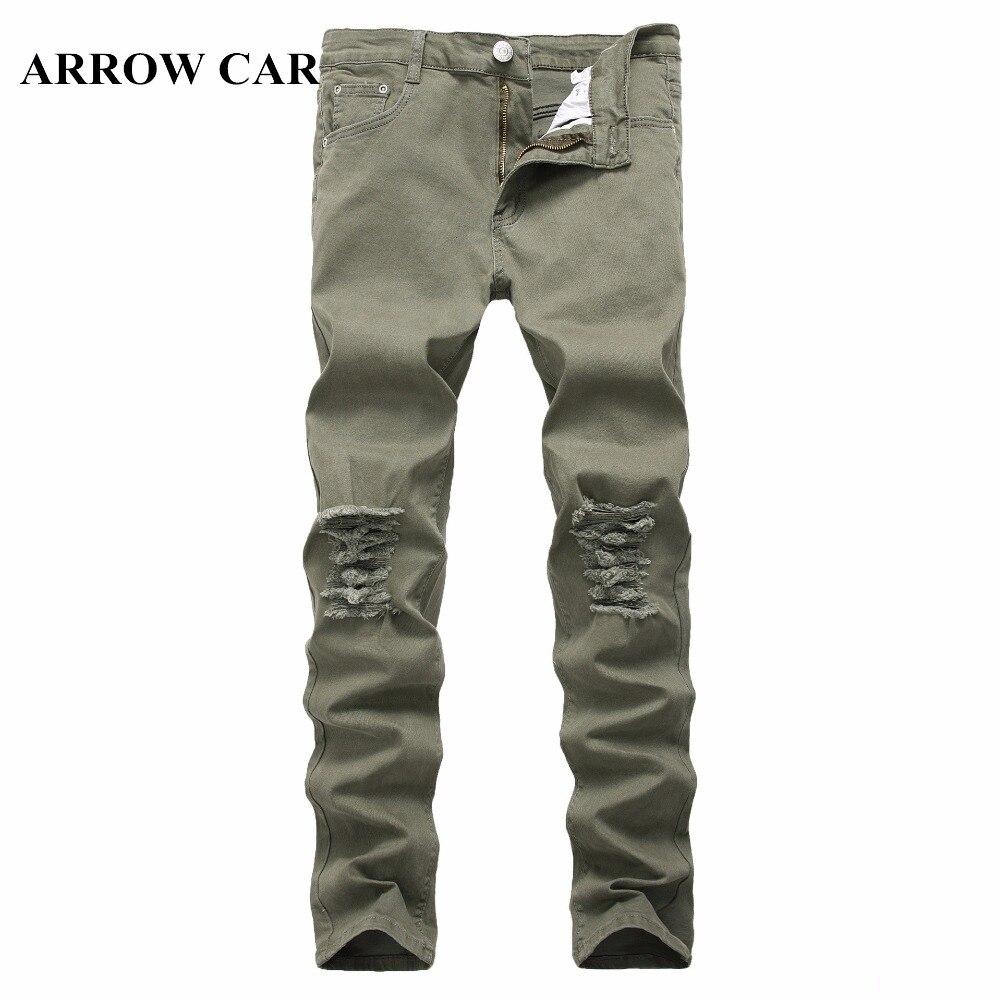ARROW CAR Men Jeans Slim Full SolidHigh Street Wind Burst Denim Pants Trend Casual Leg Stretch Lightweight Mid Hole Jeans Pants