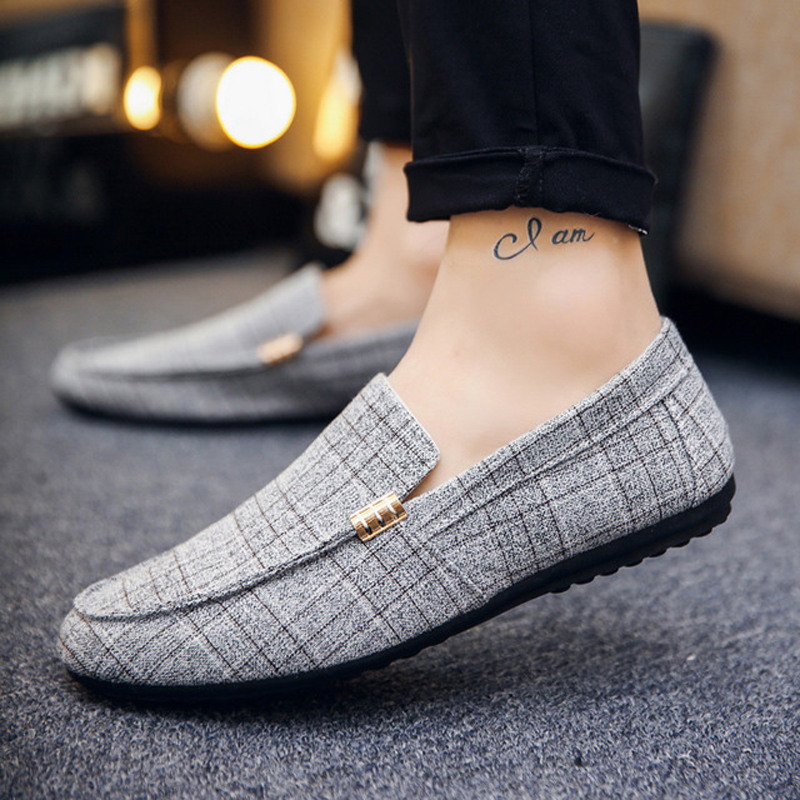 Brand Loafers <font><b>Men</b></font> <font><b>Shoes</b></font> Summer Peas Casual <font><b>Shoes</b></font> <font><b>Men</b></font> Gingham Canvas Soft Comfortable Mans Footwear Flats Male <font><b>Shoes</b></font> A10-04 image