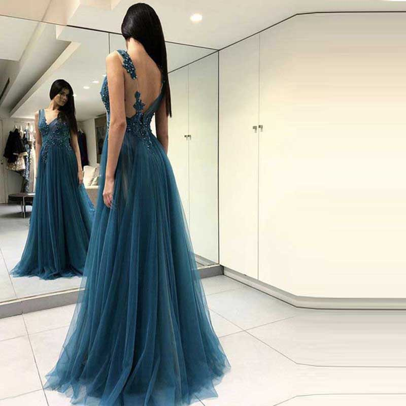 2019 Sexy V-neck   Prom     Dresses   Long Backless Side Split Tulle Evening   Dress   Robe De Soiree Appliques Party   Dresses   Evening Gowns