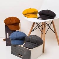 2018 new hat autumn and winter woolen sweet Japanese cute octagonal hat all match retro British Bere newspaper hat
