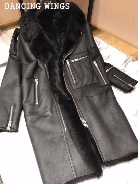 1fe659b2869 Осенне-зимнее теплое меховое цельное кожаное пальто с мехом ягненка женское  натуральное меховое натуральное овчина