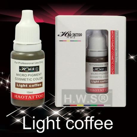ФОТО 1Pcs 15ml/bottle Vacuum Aseptic Makeup Pigment Light coffee Professional Semi-Permanent Makeup Tattoo Eyebrows Eyeliner Lip Ink