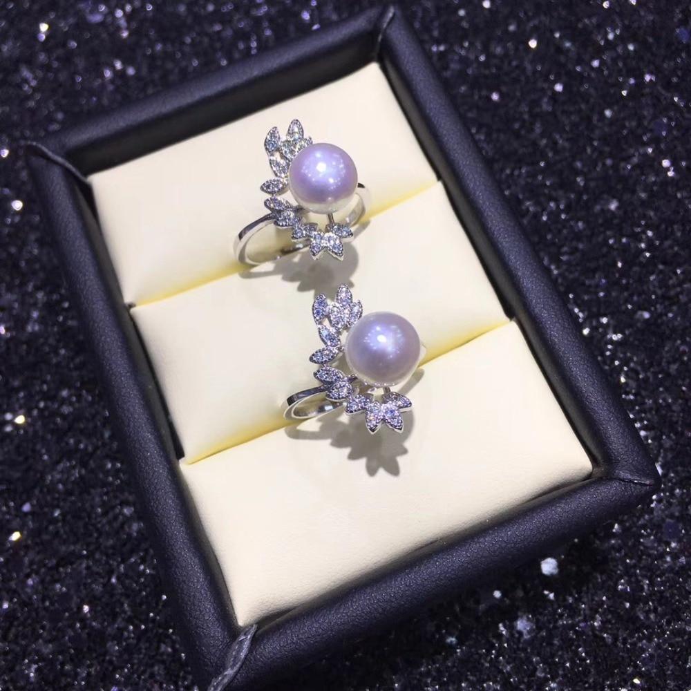 Hermosos montajes de anillo de perlas de moda, hallazgos de anillo, anillo ajustable piezas de joyería accesorios de joyería de plata-in Fornituras y componentes de joyería from Joyería y accesorios    1