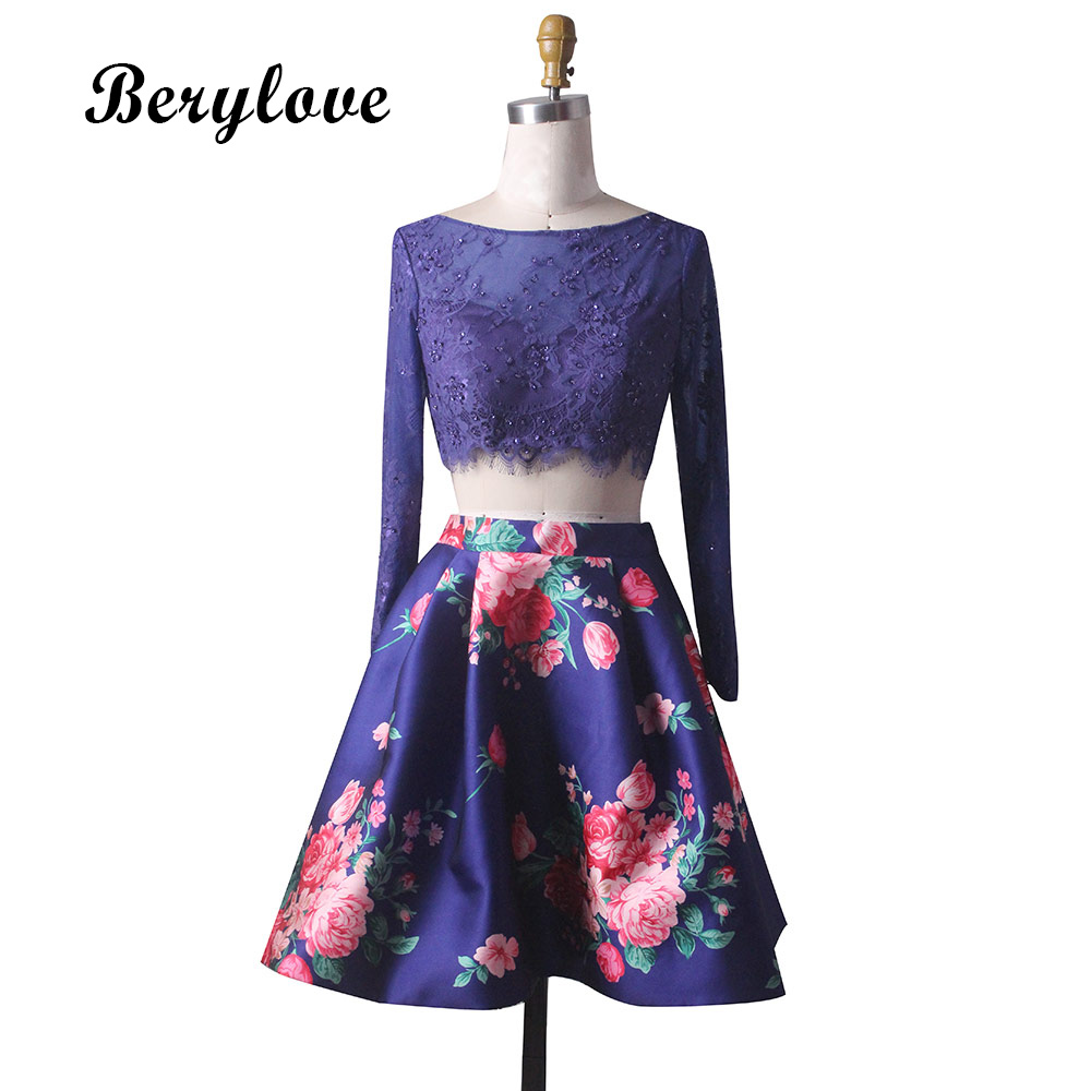 BeryLove Cute Short Two Pieces Royal Blue Lace Prom Dresses With Sleeves Floral Print Prom Dress 2018 Short Homecoming Gowns