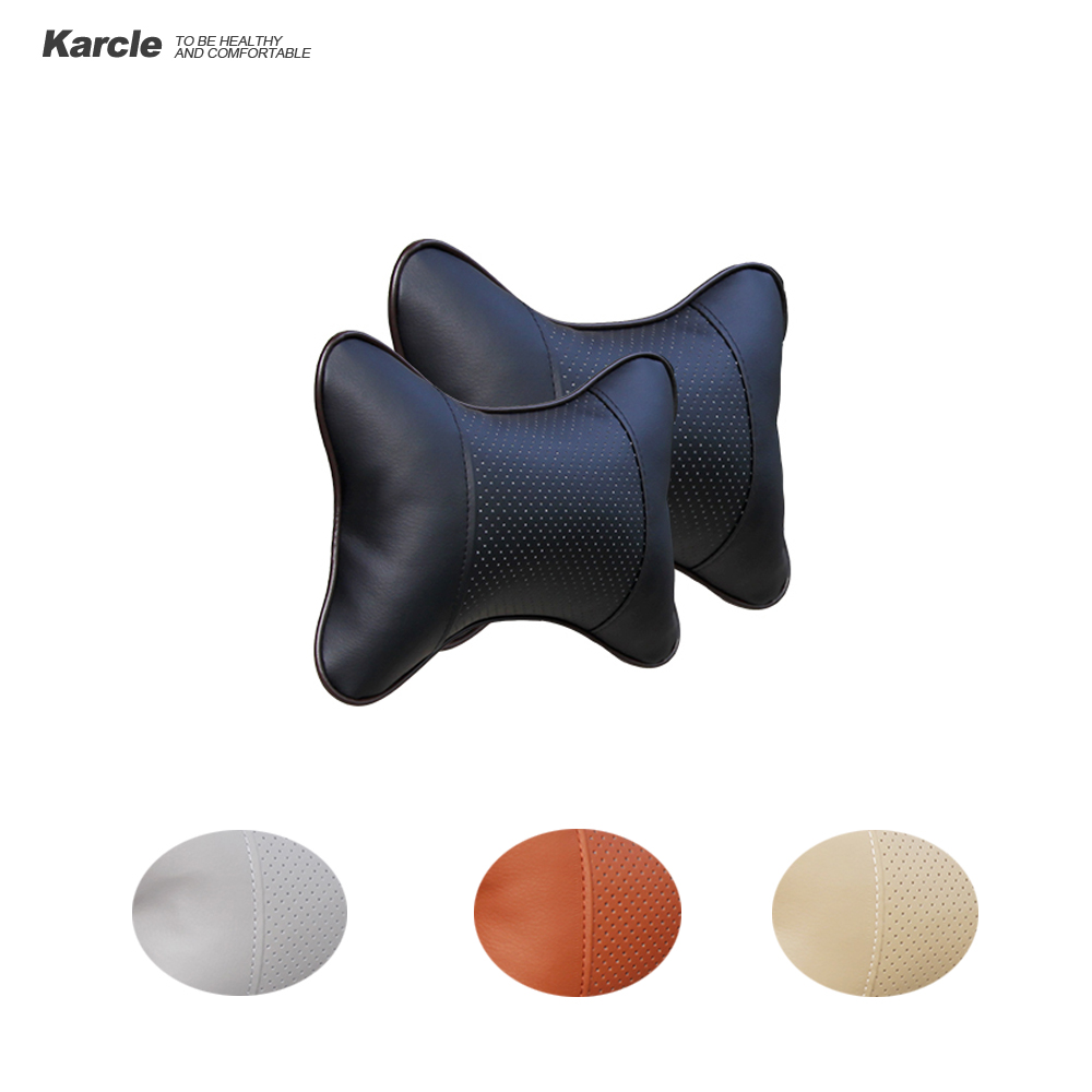 Karcle 2 PCS usnjene blazine za vrat v vratu vzglavniki dihalne - Dodatki za notranjost avtomobila - Fotografija 1