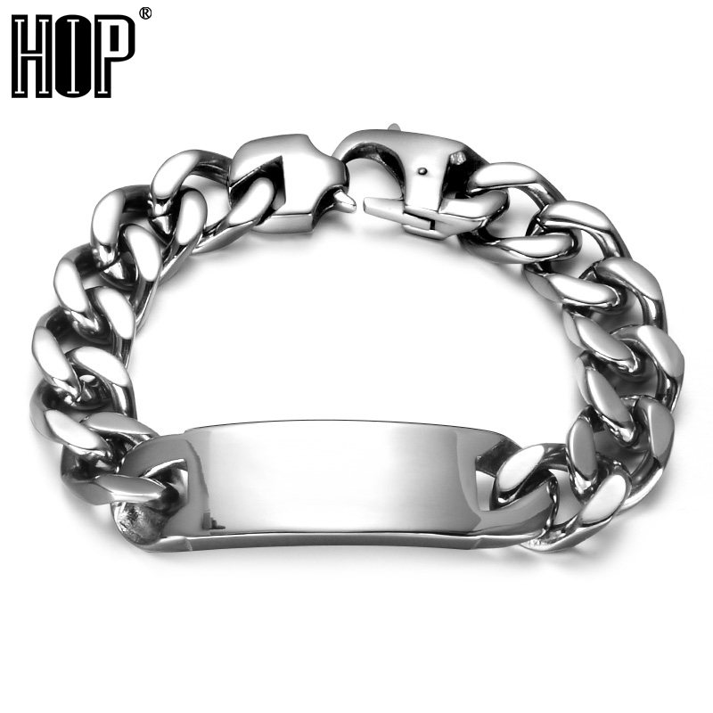 HIP Curb Link Chain Bracelet For Men Cool 316L Stainless Steel Rock Bangles Bracelets Mens Punk Rock Jewelry trustylan shiny glossy 316l stainless steel mens bracelets 2018 20mm wide chain bracelets jewellery accessory man bracelet
